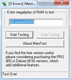 Тестирование оперативной памяти с помощью программы MemTest