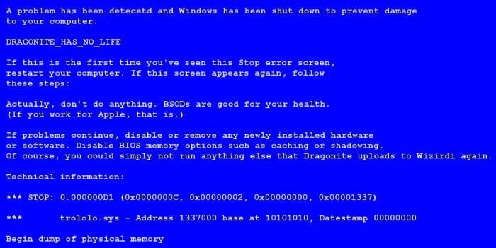 синий экран смерти - ошибки