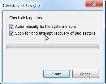 проверка жёсткого диска утилитой Check Disk