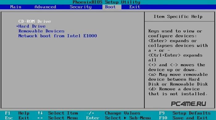 включение запуска с DVD-ROM в bios