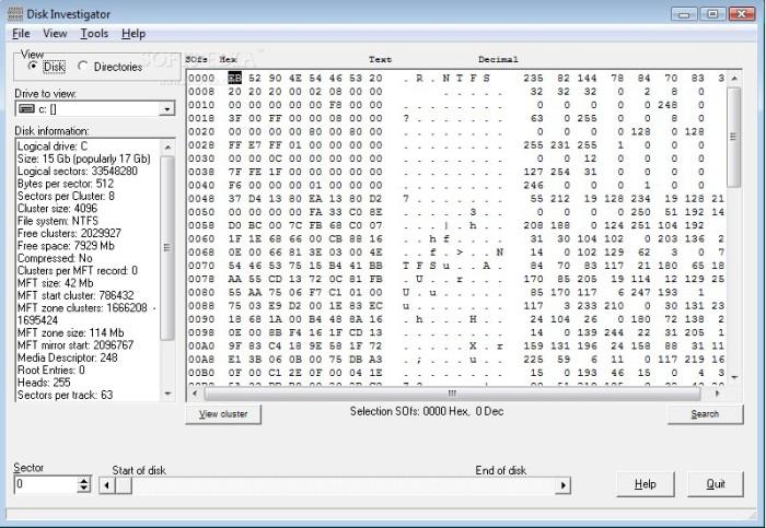 поиск нужной информации с помощью Disk Investigator