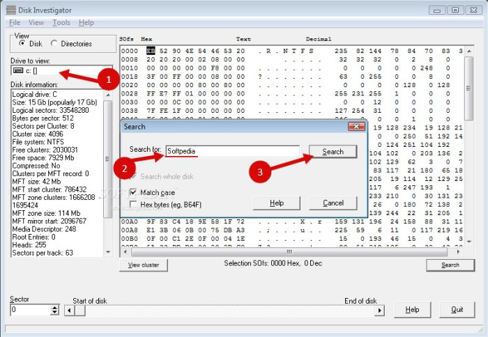 извлечь информацию с жесткого диска по запросу в Disk Investigator