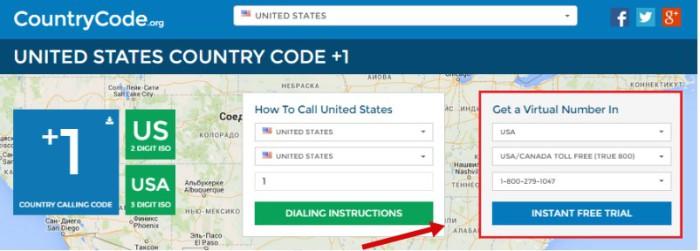 Get a virtual number in» где нужно указать страну и регион