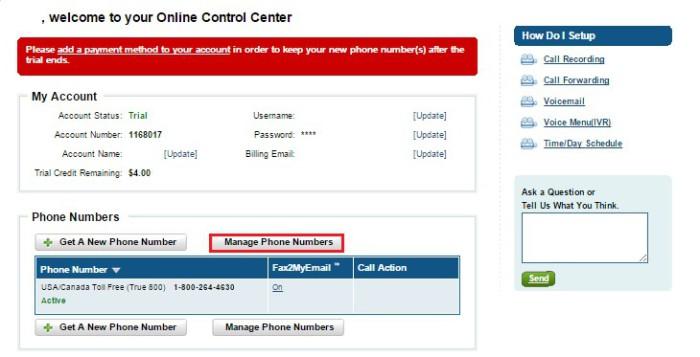 Информация о полученных сообщениях нужно кликнуть на «Manage Phone Numbers