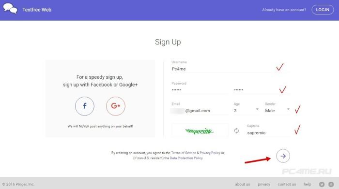 Ввод данных для регистрации в Pinger