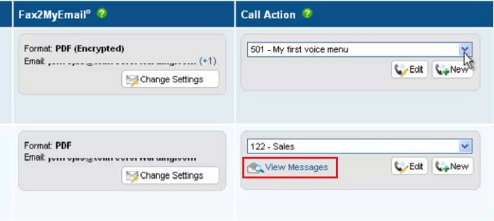 Call Action расположена клавиша View message