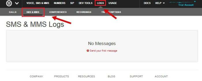Открыть меню «Logs», а после «SMS & MMS
